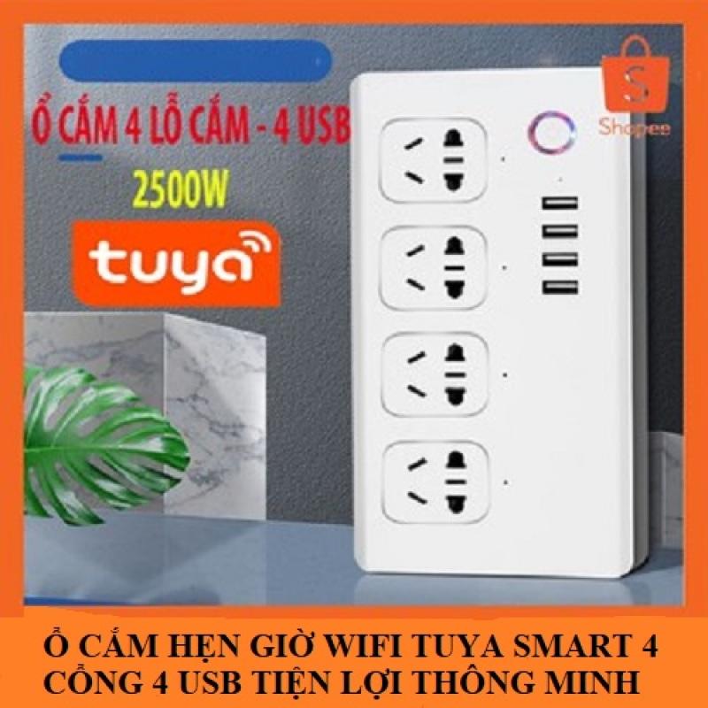 4. Ổ cắm Wifi Tuya SmartLife 4 cổng độc lập 4 usb điều khiển từ xa